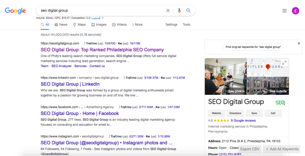 search results with social profiles